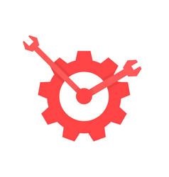 red repair service logo like clock vector image vector image