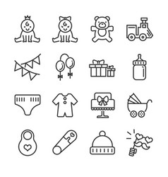baby shower line icon set vector image