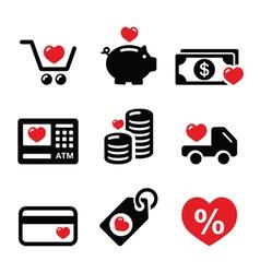 I love shopping I love money icons vector image