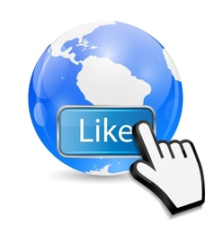 Mouse Hand Cursor on Like Button and Globe vector image vector image