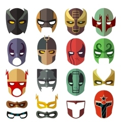 Superhero masks flat collection vector image