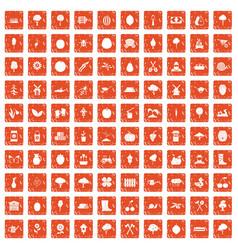 100 agriculture icons set grunge orange vector