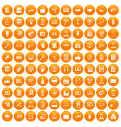 100 business training icons set orange vector