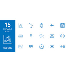 15 record icons vector image