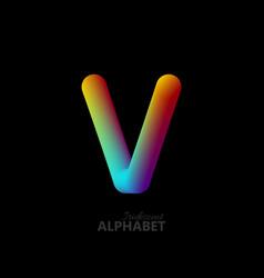 3d iridescent gradient letter v vector image