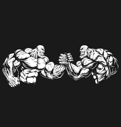 armwrestling wrestling on hands vector image