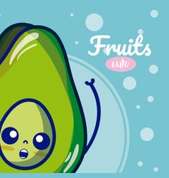 Avocado cute fruits cartoons vector