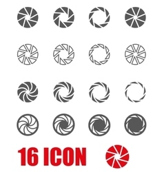 black camera shutter icon set vector image