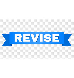 Blue ribbon with revise caption vector