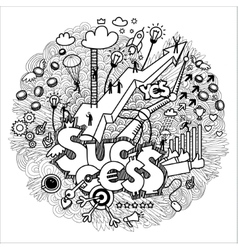 Business doodles on white vector image
