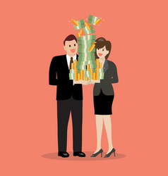 Businessman and woman holding a lot of money vector