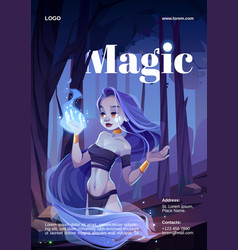 Cartoon poster with magic woman and wizard fire vector