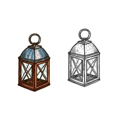 Christmas lamp lantern light sketch icon vector