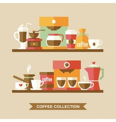 Coffee elements on shelves vector image