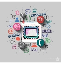 collage with icons background vector image