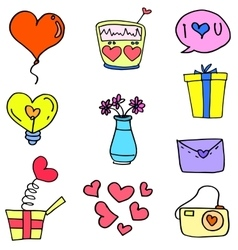 Collection of love theme doodles vector