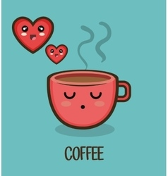 cup coffee love heart character design isolated vector image