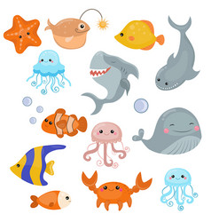 cute sea creatures cute sea creatures vector image