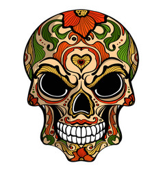 day of the dead skull with floral ornament vector image