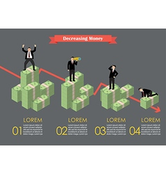 Decreasing cash money with businessmen in various vector