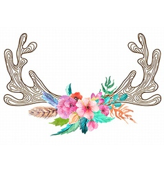 Doodle horns with watercolor flowers and feathers vector