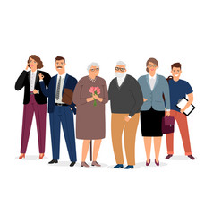 elderly couple surrounded family vector image