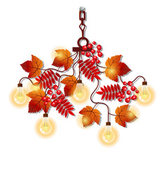 Electric chandelier with ornate frame of tree vector