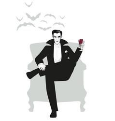 Elegant vampire sitting in an armchair holding vector
