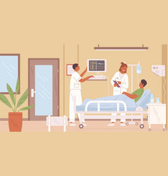 female doctor and nurse visit male patient in vector image