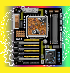 Fictional motherboard with gear mechanism vector