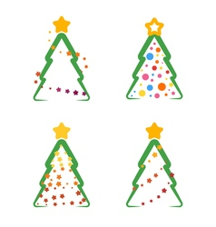 flat xmas tree set 04 vector image