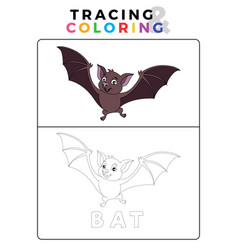 Funny bat tracing and coloring book with example vector