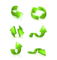 Green arrows set vector image