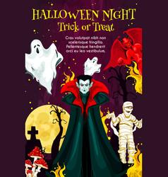 halloween night monster greeting banner design vector image