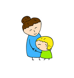 happy mother and son hugs smiling family vector image