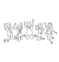 Happy people jumping line vector