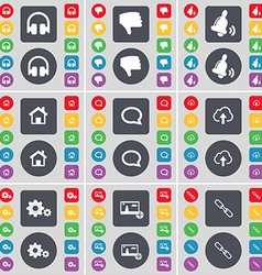 Headphones Dislike Bell House Chat bubble Cloud vector image