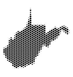 Hexagon halftone west virginia state map vector