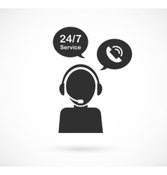 hotline support service with headphones concept vector image