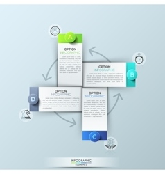 Infographic design template with 4 rectangular vector