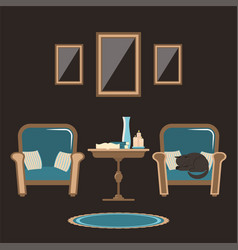 interior of a living room with two chairs a vector image
