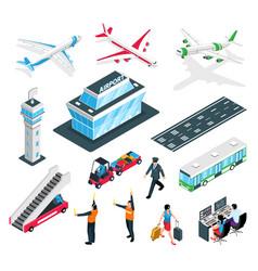 Isometric airport icon set vector