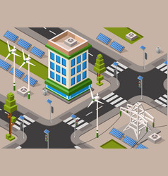 Isometric solar wind energy city street vector