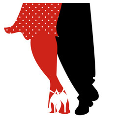 legs of woman and man dancing swing on white vector image