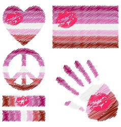 Lipstick Lesbian pride design elements vector image