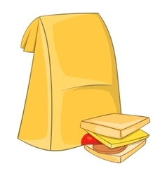Lunch bag and sandwich icon cartoon style vector image
