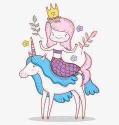 Mermaid woman ride unicorn with plants leaves vector