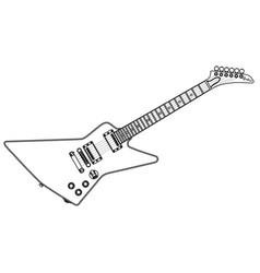 Modern electric guitar outline vector
