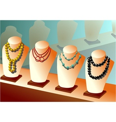 necklaces on mannequins vector image