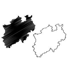 north rhine-westphalia map vector image